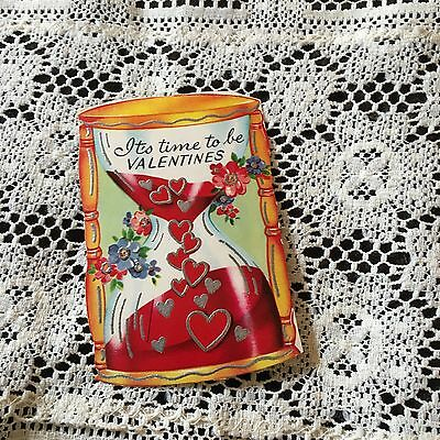 Vintage Greeting Card Valentine Hourglass Hearts Time