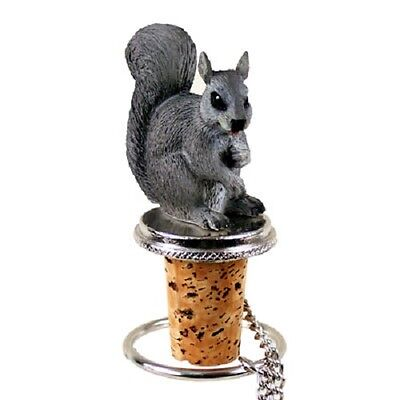 GRAY SQUIRREL Cork WINE BOTTLE STOPPER resin HAND PAINTED FIGURINE animal NEW