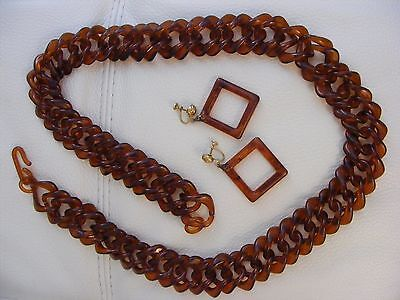 1950's Tortoise LUCITE Curved Square Link Necklace & Open Square Dangle Earrings