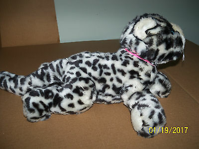 goffa plush snow leopard black white cat stuffed animal blue eyes dottie