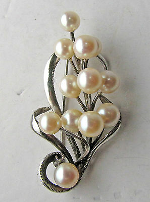 Vintage Sterling Silver Pearl Cluster Pin Brooch