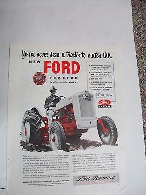 Original 10 x 13 1953 FORD Tractor Ad GOLDEN JUBILEE MODEL