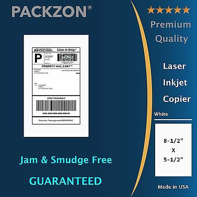PACKZON® Shipping Labels 400 8.5x5.5 Straight corner Self Adhesive 2 Per Sheet