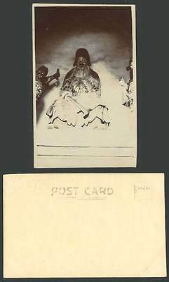 China Old Real Photo Postcard God Deity Statue in a Chinese Taoist Daoist Temple