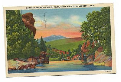 Vintage Vermont Linen Postcard Camel's Hump and Winooski River Green Mountains