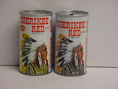 2 Versions of Vintage Cherikee Red Straight Steel Pull Tab Top Opened Soda Cans