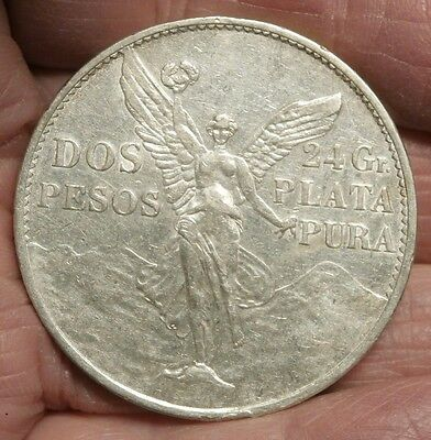1921 MEXICO 2 PESOS ANGEL of  INDEPENDENCE SILVER CROWN ONE YEAR TYPE C427