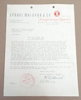 Muncy, Pa Sprout, Waldron & Company 1947 Letter To Darlington, Pa Products Co.