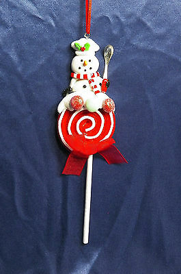 Snowman with Red Lollipop Christmas Tree Ornament new