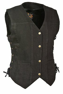 Milwaukee Leather Women's Denim 6 Pocket Vest with Side Lace (Black, XX-Large)