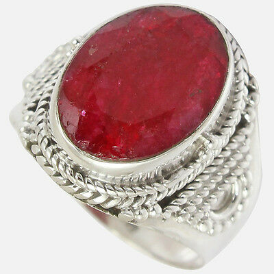 Indian-Ruby 925 Sterling Silver Ring  Jewelry Size-7 SR-9016