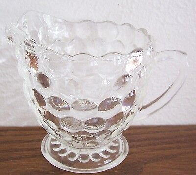 Creamer in the Bubble-Clear pattern by Anchor-Hocking-Crystal -Vintage 1934-1965