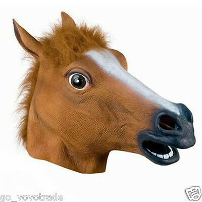 Horse Head Mask Latex Animal Costume Prop Gangnam Style For Halloween UK