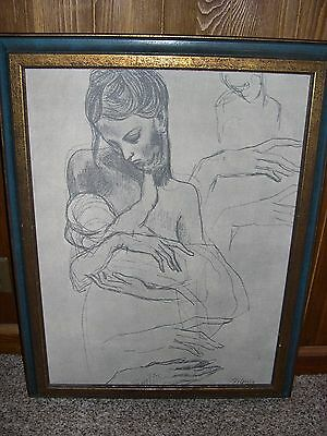 "Picasso Textile Art Framed  ""study Of The Hands""  Super Rare"