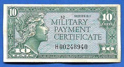 *** Series 611 10 Cent Replacement Mpc - Beautiful Vf! ***