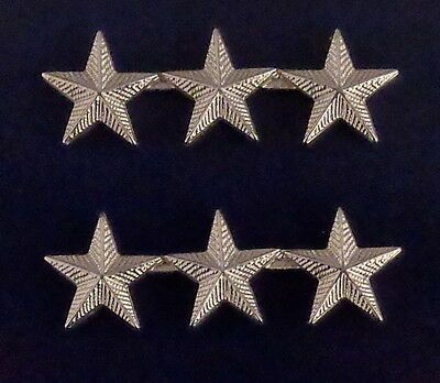 3 stars 5/8 CORRUGATED Silver Pair Collar Pins Rank Insignia Police Chief/Deputy