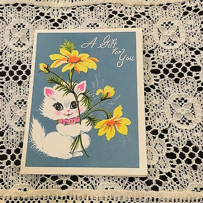 Vintage Greeting Card Small Gift Card Cat Kitten Flower