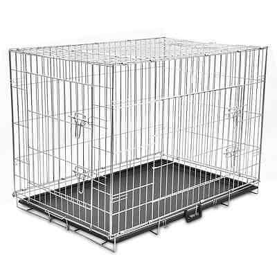 """43"""" Dog Cage Crate Pet Kennel Puppy Cat Rabbit Metal Collapsible 2 Door House"""
