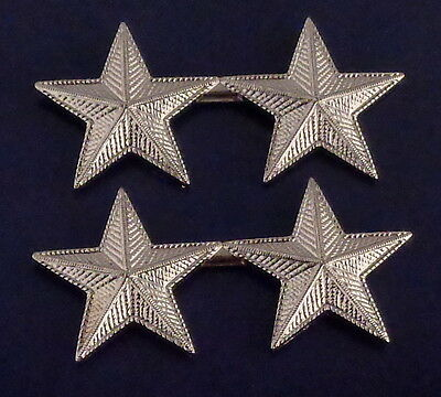 "2 stars 1"" CORRUGATED SILVER Pair Collar Pins Rank Insignia police/chief/deputy"