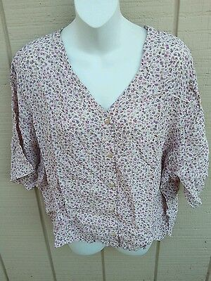 6f77b86ee4c NWT ADINI Plus Purple   Cream Button Down Floral Shirt Top Made in India 1X  -