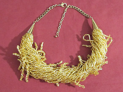 Gold Bling Beaded Twisted Costume Necklace