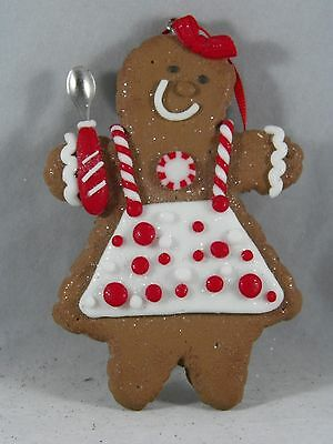 Gingerbread Lady in Apron with Spoon Christmas Tree Ornament new holiday