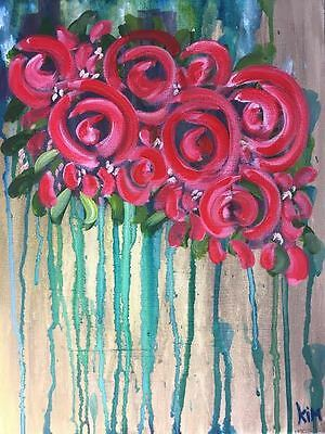 Red Roses Flower Painting,Abstract Art,Canvas Artwork,Wall Art