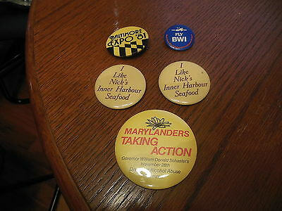 Baltimore Pin Lot Of 5 Expo 81 , Fly Bwi , Nick's Inner Harbor Seafood , Action