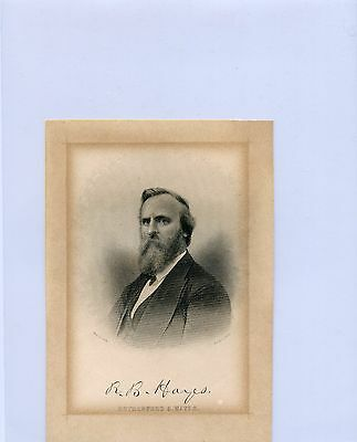 1877 President Rutherford B. Hayes Antique Engraved Portrait