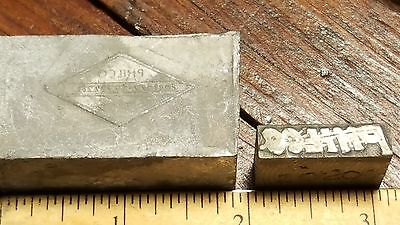 Vintage Lot of 2 Philco Printer's Letterpress Type Blocks