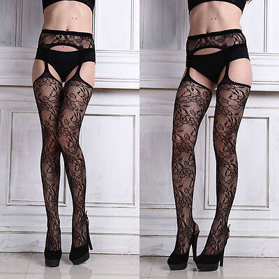 Sexy Womens Lingerie Net Lace Top Garter Belt Thigh Stockings Racy Pantyhose HOT