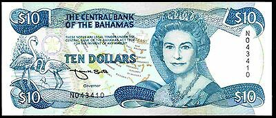 Bahamas. Ten Dollars, N043410,  Act1974, (Iss; 1992), Almost Uncirculated.