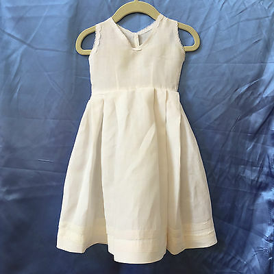 Vintage Little Girl's White Linen Dress High Waisted Pinafore