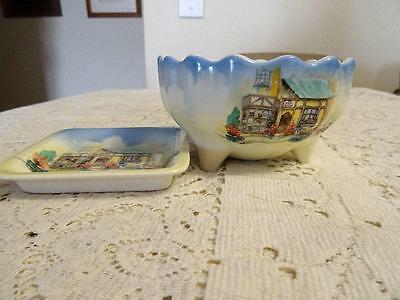 1930S Lancaster  The Posy Shop Butter Pat And Footed Bowl Unusual Piece