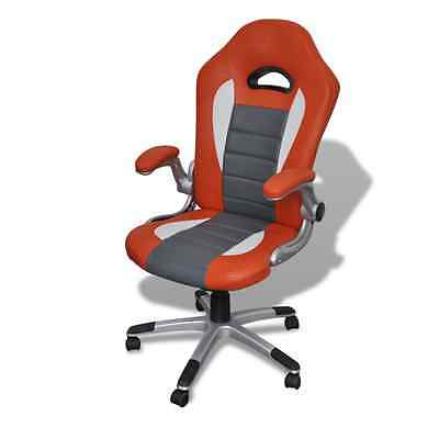 Orange Office Chair Executive Premium PU Faux Leather Computer Work Padded Seat