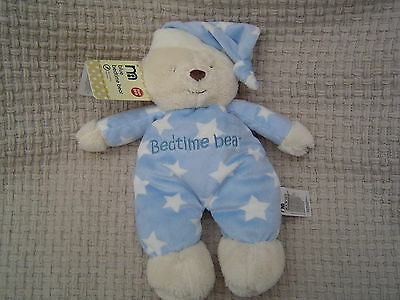 Mothercare Blue Bedtime Bear Soft Toy Teddy Comforter New