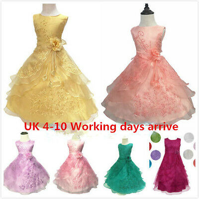 Girls Kids Flower Wedding Formal Bridesmaid Party Ball Gown Prom Princess Dress