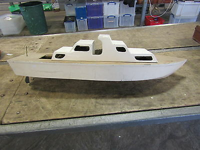 Vintage Large R.c. Motor Boat Hull And Cabin. Ideal Project