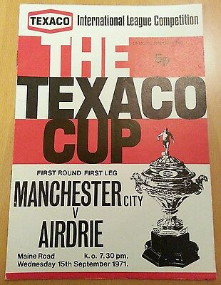 Manchester City V Airdrie Texaco Cup Match 15 Sept 1971 Excellent Condition