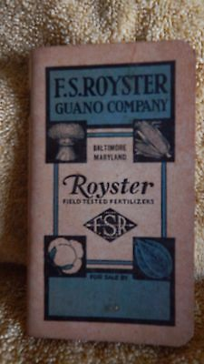 Vintage Advertising Pocket Booklet For F.S. Royster Guano Company Baltimore, Md.