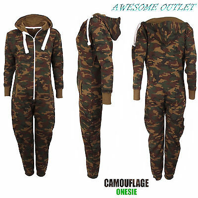KIDS ARMY CAMOUFLAGE PRINT jumpsuit HOODED JUMPSUIT ALL IN ONE BOYS GIRLS FLEECE