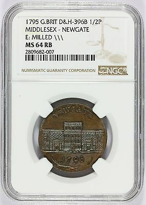 1795 G. Britain Middlesex Newgate Half Penny Conder Token D&H-396B  NGC MS 64 RB