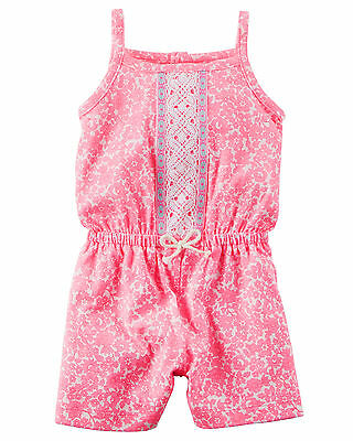 Carters 3 6 9 12 18 24 Months Floral Pink Cotton Romper Baby Girl Clothes