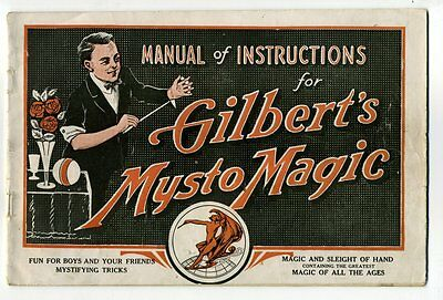 MANUAL OF INSTRUCTIONS FOR GILBERT'S MYSTO MAGIC 1917 How To Become a Magician