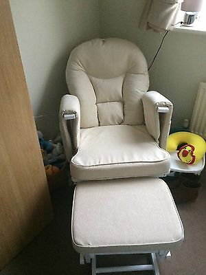 Serenity Maternity Glider Chair With Footstool In White