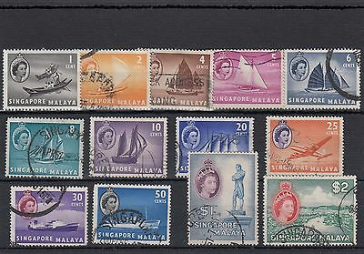 Malaya Singapore .13-- Used Qe2 Singapore Pictorial Stamps On Stockcard