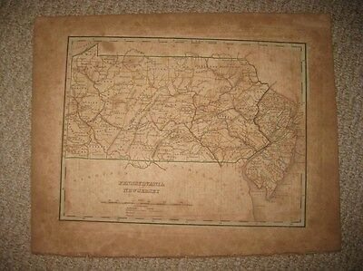 Early Important Antique 1835 New Jersey Pennsylvania Bradford Map Philadelphia