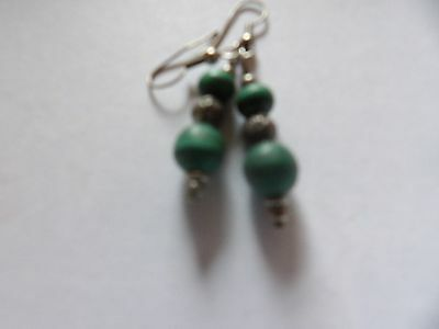 Pretty Pair Of Hand Crafted Faux Malachite Drop Earrings. 562-16