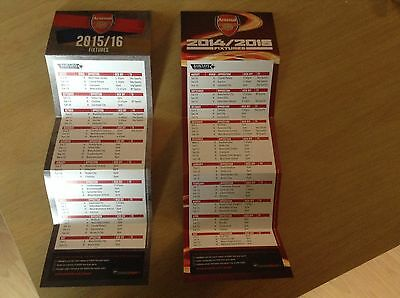 2 arsenal fc fold up fixture cards 2014-15 & 2015-16.