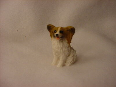 PAPILLON brown white puppy TiNY Dog FIGURINE Resin MINIATURE Mini Pet Statue NEW